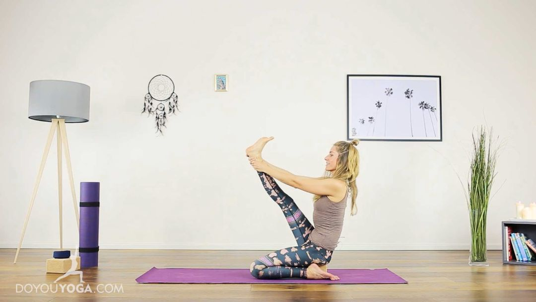 Heron Pose to open Hips, Thighs, and Hamstrings